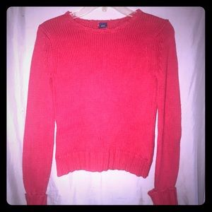 Gap red crew neck sweater with button detail arms